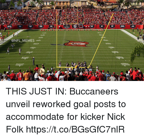 Football, Memes, and Nfl: 12s  LAYER  @NFL MEMES THIS JUST IN: Buccaneers unveil reworked goal posts to accommodate for kicker Nick Folk https://t.co/BGsGfC7nlR