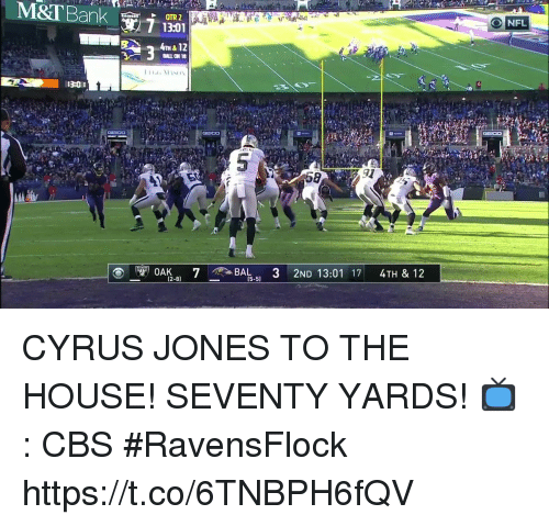 Memes, Cbs, and House: 13:01  BALL ON 18  GEICO CYRUS JONES TO THE HOUSE!  SEVENTY YARDS!  📺: CBS #RavensFlock https://t.co/6TNBPH6fQV