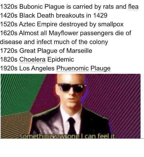 Empire: 1320s Bubonic Plague is carried by rats and flea  .....  1420s Black Death breakouts in 1429  1520s Aztec Empire destroyed by smallpox  1620s Almost all Mayflower passengers die of  disease and infect much of the colony  1720s Great Plague of Marseille  1820s Choelera Epidemic  1920s Los Angeles Phuenomic Plauge  somethingis wrong I can feel it Oh boy