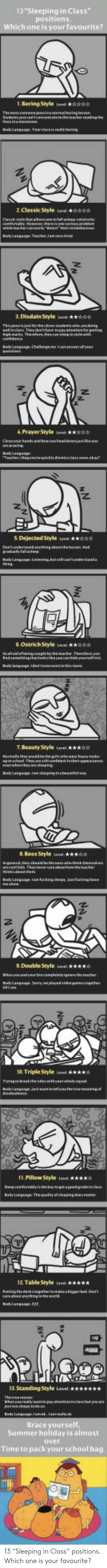 """dejected: 13""""Sleeping in Class""""  positions  Which o  1. Boring Style ese kR  2 ClassicStyle v  3 Disdain Style eest  4 PrayerStyle eHA  5 Dejected Style  Ostrich Style Level s  7. Beauty Style evel  & Boss Style it  2  9 DosubleStyle w  10. Triple Style  une. ★★★★☆  li.Pillow Style iesel  ★☆  12 Table Style eve  13. Standing Style Level  Summer holiday is almost  over  Time to pack your school bag 13 """"Sleeping in Class"""" positions.  Which one is your favourite?"""