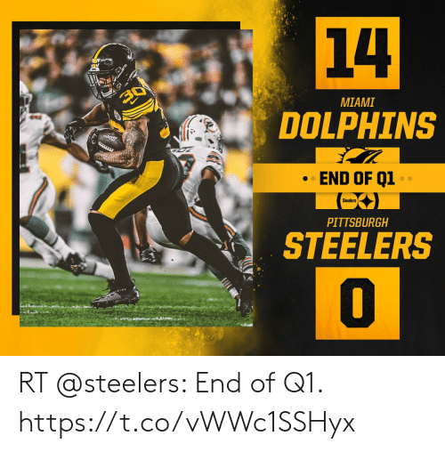 Pittsburgh Steelers: 14  30  MIAMI  DOLPHINS  7  END OF Q1  Steelers  PITTSBURGH  STEELERS RT @steelers: End of Q1. https://t.co/vWWc1SSHyx