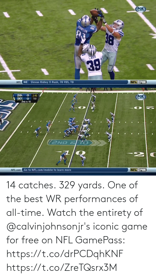 All Time: 14 catches. 329 yards. One of the best WR performances of all-time.  Watch the entirety of @calvinjohnsonjr's iconic game for free on NFL GamePass: https://t.co/drPCDqhKNF https://t.co/ZreTQsrx3M