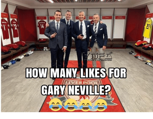 Memes, Liverpool F.C., and 🤖: 14  HOW MANY LIKESFOR  GARY NEVILLE?  LIVERPOOL