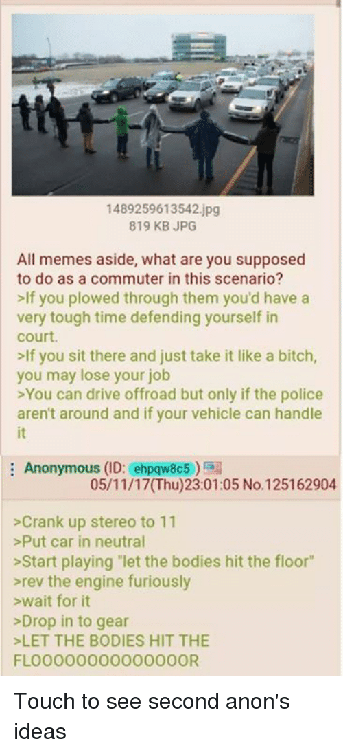 """All Memes: 1489259613542.jpg  819 KB JPG  All memes aside, what are you supposed  to do as a commuter in this scenario?  >If you plowed through them you'd have a  very tough time defending yourself in  court  lf you sit there and just take it like a bitch  you may lose your job  >You can drive offroad but only if the police  aren't around and if your vehicle can handle  it  Anonymous (ID: ehpqw8c5)  05/11/17(Thu)23:01:05 No.125162904  >Crank up stereo to 11  >Put car in neutral  >Start playing let the bodies hit the floor""""  rev the engine furiously  >wait for it  >Drop in to gear  LET THE BODIES HIT THE  FLOO000000000000OR Touch to see second anon's ideas"""
