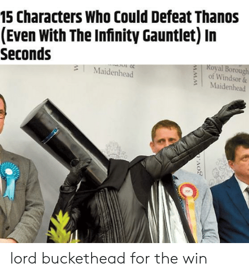 Lord Buckethead: 15 Characters Who Could Defeat Thanos  (Even With The Infinity Gauntlet) In  Seconds  Koyal Borough  of Windsor &  3 Maidenhead  3Maidenhead  0 lord buckethead for the win