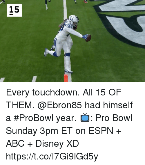 Abc, Disney, and Espn: 15 Every touchdown. All 15 OF THEM. @Ebron85 had himself a #ProBowl year.  📺: Pro Bowl | Sunday 3pm ET on ESPN + ABC + Disney XD https://t.co/I7Gi9lGd5y