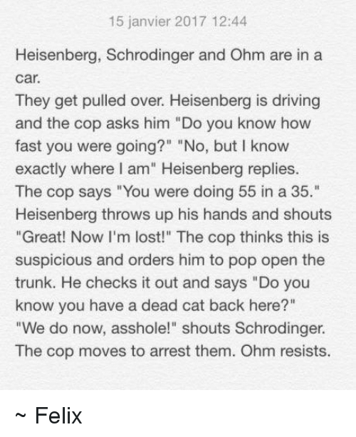 """Heisenberger: 15 janvier 2017 12:44  Heisenberg, Schrodinger and Ohm are in a  Car.  They get pulled over. Heisenberg is driving  and the cop asks him """"Do you know how  fast you were going?"""" """"No, but I know  exactly where I am"""" Heisenberg replies.  The cop says """"You were doing 55 in a 35.""""  Heisenberg throws up his hands and shouts  """"Great! Now I'm lost!"""" The cop thinks this is  suspicious and orders him to pop open the  trunk. He checks it out and says """"Do you  know you have a dead cat back here?""""  """"We do now, asshole!"""" shouts Schrodinger.  The cop moves to arrest them. Ohm resists. ~ Felix"""