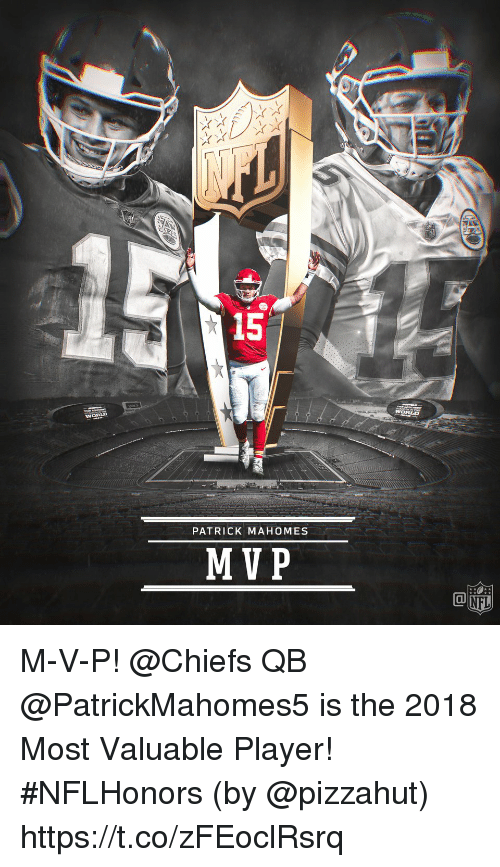 Patrick Mahomes: 15  WORLD  PATRICK MAHOMES  MVP M-V-P!  @Chiefs QB @PatrickMahomes5 is the 2018 Most Valuable Player! #NFLHonors (by @pizzahut) https://t.co/zFEoclRsrq