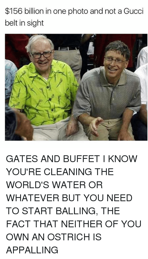 appalling: $156 billion in one photo and not a Gucci  belt in sight GATES AND BUFFET I KNOW YOU'RE CLEANING THE WORLD'S WATER OR WHATEVER BUT YOU NEED TO START BALLING, THE FACT THAT NEITHER OF YOU OWN AN OSTRICH IS APPALLING