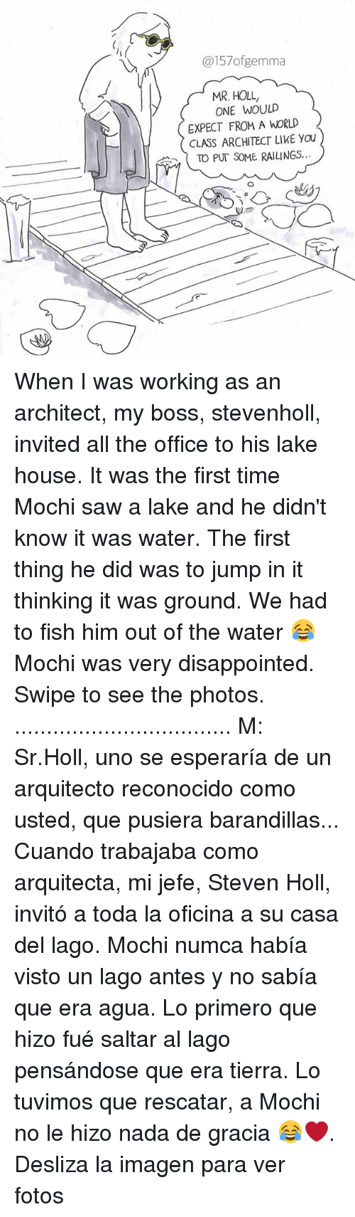 Imagenable: @157ofgemma  MR. HOLL,  ONE WOULD  EXPECT FROM A WORLD  CLASS ARCHITECT LIKE YOU  ( TO PUT SOME RAILINGS  c曲 When I was working as an architect, my boss, stevenholl, invited all the office to his lake house. It was the first time Mochi saw a lake and he didn't know it was water. The first thing he did was to jump in it thinking it was ground. We had to fish him out of the water 😂 Mochi was very disappointed. Swipe to see the photos. .................................. M: Sr.Holl, uno se esperaría de un arquitecto reconocido como usted, que pusiera barandillas... Cuando trabajaba como arquitecta, mi jefe, Steven Holl, invitó a toda la oficina a su casa del lago. Mochi numca había visto un lago antes y no sabía que era agua. Lo primero que hizo fué saltar al lago pensándose que era tierra. Lo tuvimos que rescatar, a Mochi no le hizo nada de gracia 😂❤️. Desliza la imagen para ver fotos