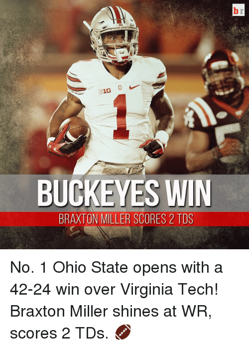 Virginia Tech: 16  BUCKEYES WIN  BRAXTON MILLER SCORES 2 TDS No. 1 Ohio State opens with a 42-24 win over Virginia Tech! Braxton Miller shines at WR, scores 2 TDs. 🏈