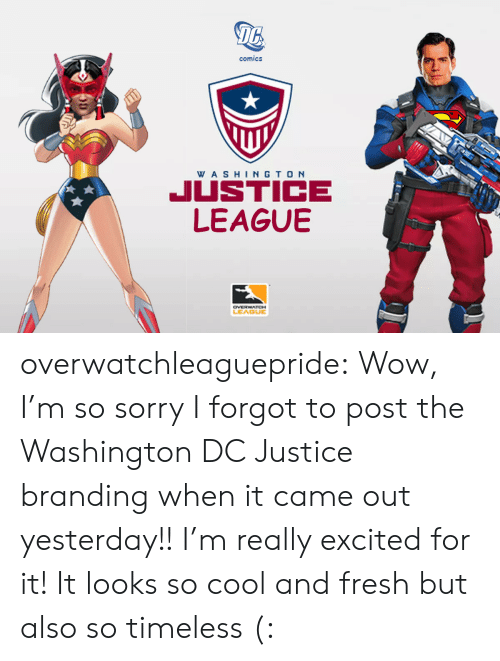 Washington Dc: 16  comics  WA SHINGTO N  JUSTICE  LEAGUBE  LEAGUE overwatchleaguepride:  Wow, I'm so sorry I forgot to post the Washington DC Justice branding when it came out yesterday!!I'm really excited for it! It looks so cool and fresh but also so timeless (: