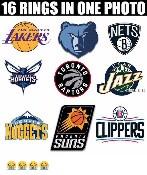 Nba, Clippers, and One: 16 RINGS IN ONE PHOTO  NETS  LOSANGELES  0  CHRRLOTTE  NBAMEMES  NUGGETS  OGTS CLIPPERS  Suns 😭😭😭😭