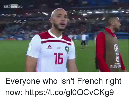 Soccer, French, and Who: 16  RUSIO Everyone who isn't French right now: https://t.co/gl0QCvCKg9