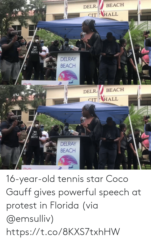 Protest: 16-year-old tennis star Coco Gauff gives powerful speech at protest in Florida (via @emsulliv) https://t.co/8KXS7txhHW