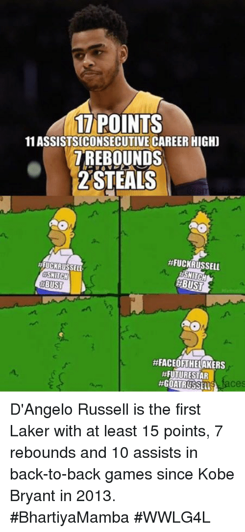 Back to Back, Kobe Bryant, and Memes: 17 POINTS  11 ASSISTS CONSECUTIVE CAREER HIGHD  T REBOUNDS  2 STEALS  #FUCKRUSSELL  #FUCK RUSSELL  SMITH  NITCH  RBUST  BUST  #FACEOF THELAKERS  #FUTURE STAR D'Angelo Russell is the first Laker with at least 15 points, 7 rebounds and 10 assists in back-to-back games since Kobe Bryant in 2013.   #BhartiyaMamba #WWLG4L