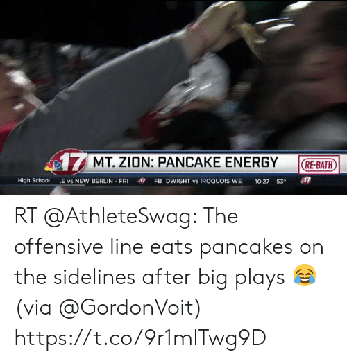 Offensive Line: 17MT. ZION: PANCAKE ENERGY  RE-BATH  FB DWIGHT vs IROQUOIS WE  10:27 53  417  High School  E vs NEW BERLIN FRI RT @AthleteSwag: The offensive line eats pancakes on the sidelines after big plays 😂 (via @GordonVoit) https://t.co/9r1mlTwg9D