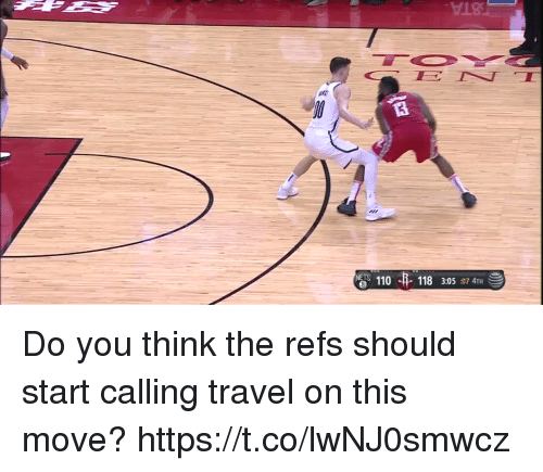 Andrew Bogut: 18  110  6  118 3:05:07 4TH Do you think the refs should start calling travel on this move?  https://t.co/lwNJ0smwcz