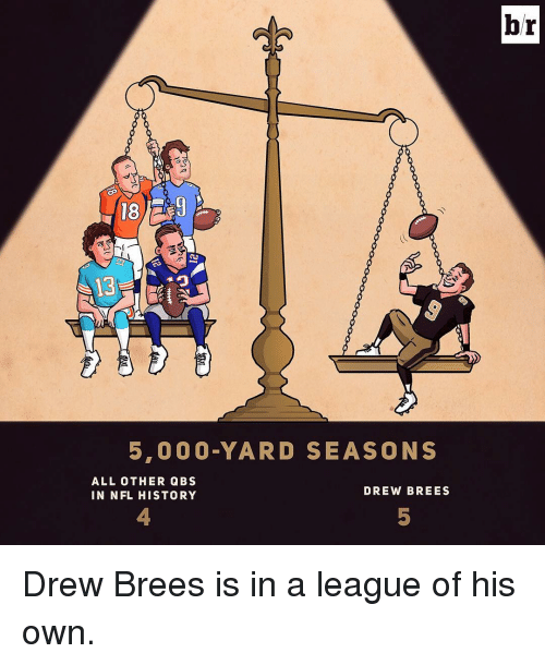 Nfl, Sports, and Drew Brees: 18  5,000 YARD SEASONS  ALL OTHER QBS  DREW BREES  IN NFL HISTORY  br Drew Brees is in a league of his own.