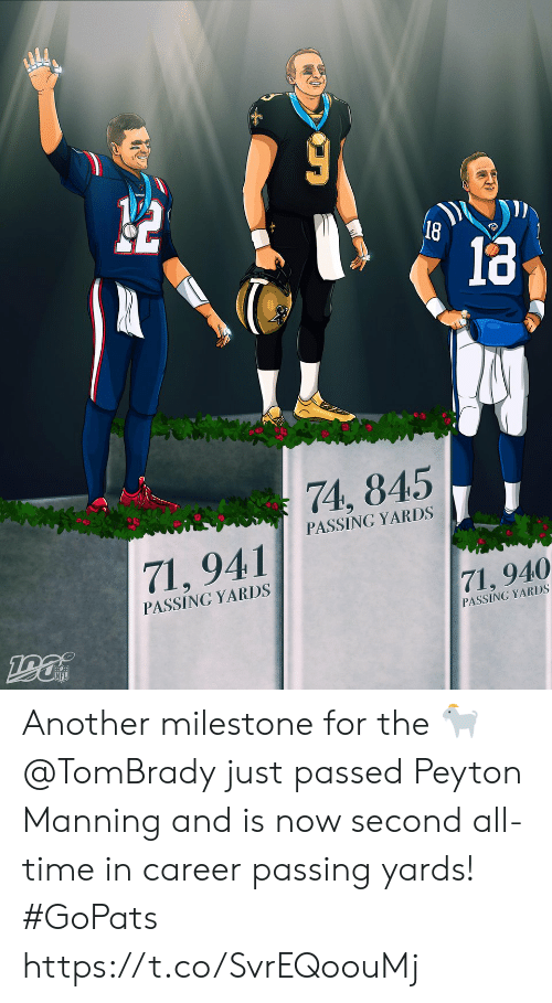 Peyton: 18  74, 845  PASSING YARDS  71,941  PASSING YARDS  71, 940  PASSING YARDS Another milestone for the 🐐  @TomBrady just passed Peyton Manning and is now second all-time in career passing yards! #GoPats https://t.co/SvrEQoouMj
