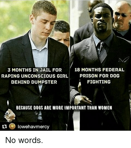 federalism: 18 MONTHS FEDERAL  3 MONTHS IN JAIL FOR  RAPING UNCONSCIOUS GIRL.  PRISON FOR DOG  FIGHTING  BEHIND DUMPSTER  BECAUSE DOGS ARE MORE HMPORTANT THAN WOMEN  owehavmercy No words.