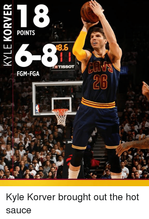 Memes, Kyle Korver, and Sauce: 18  O POINTS  26-8  8.6  TISSOT  FGM-FGA Kyle Korver brought out the hot sauce