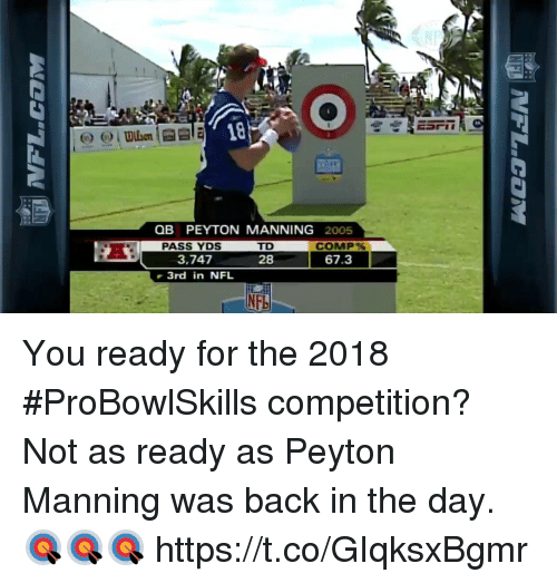 Memes, Nfl, and Peyton Manning: 18  OB PEYTON MANNING 2005  PASS YDS  3.747  3rd in NFL  COMP%  67.3  28  NF You ready for the 2018 #ProBowlSkills competition?  Not as ready as Peyton Manning was back in the day. 🎯🎯🎯 https://t.co/GIqksxBgmr