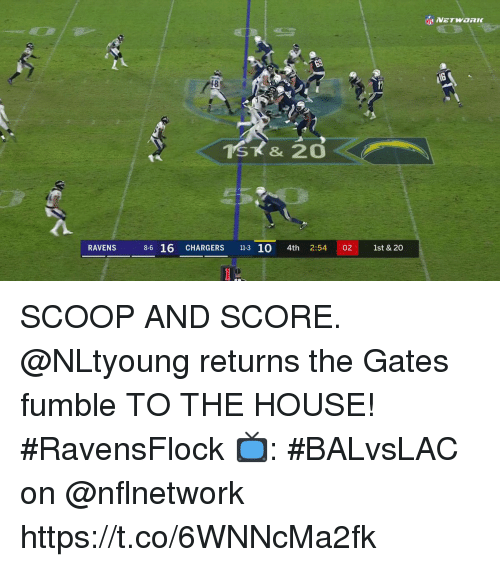 Memes, Chargers, and House: 18  RAVENS  8-6 16 CHARGERS 11-3 10 4th 2:54 02 1st & 20 SCOOP AND SCORE.  @NLtyoung returns the Gates fumble TO THE HOUSE! #RavensFlock  📺: #BALvsLAC on @nflnetwork https://t.co/6WNNcMa2fk