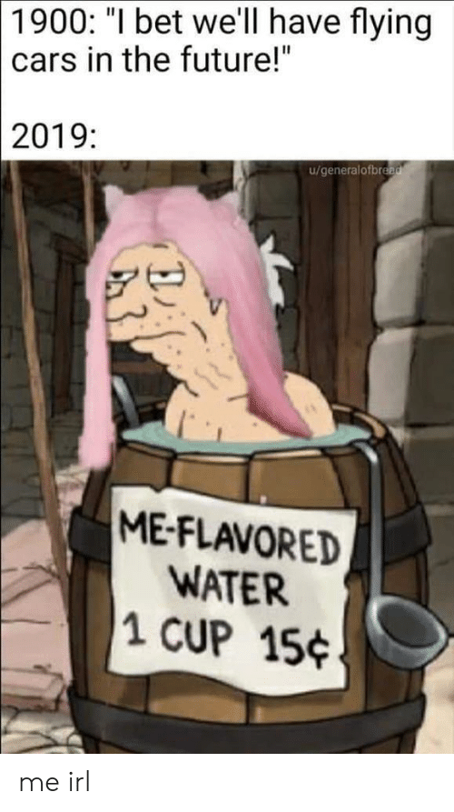 """Cars, Future, and I Bet: 1900: """"I bet we'll have flying  cars in the future!""""  2019:  u/generalofbread  ME-FLAVORED  WATER  1 CUP 15 me irl"""