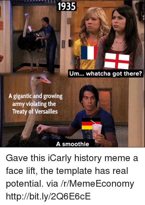 iCarly, Meme, and Army: 1935  Um... whatcha got there?  A gigantic and growing  army violating the  Treaty of Versailles  A smoothie Gave this iCarly history meme a face lift, the template has real potential. via /r/MemeEconomy http://bit.ly/2Q6E6cE