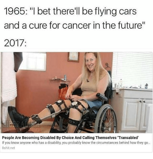 """Cars, Future, and I Bet: 1965: """"I bet there'll be flying cars  and a cure for cancer in the future""""  2017:  People Are Becoming Disabled By Choice And Calling Themselves 'Transabled  If you know anyone who has a disability, you probably know the circumstances behind how they go..  8shit.net"""