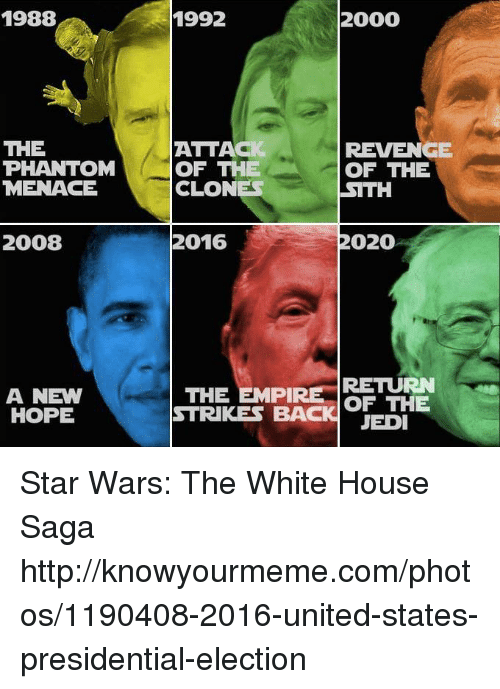 Dank, Jedi, and Presidential Election: 1988  THE  PHANTOM  MENACE  2008  A NEW  HOPE  2000  1992  ATTACI  REVENGE  OF THE  OF THE  CLONES  SITH  2020  2016  THE EMPIRE  RETURN  OF THE  STRIKES BACK JEDI Star Wars: The White House Saga http://knowyourmeme.com/photos/1190408-2016-united-states-presidential-election