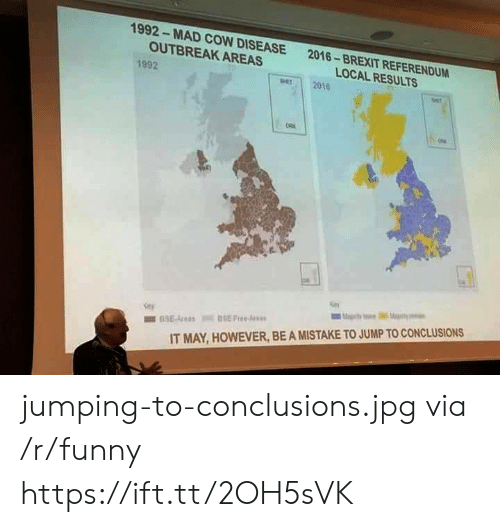 Funny, Mad, and Brexit: 1992- MAD COW DISEASE  OUTBREAK AREAS  2016-BREXIT REFERENDUM  LOCAL RESULTS  1992  per 2010  IT MAY, HOWEVER, BE A MISTAKE TO JUMP TO CONCLUSIONS jumping-to-conclusions.jpg via /r/funny https://ift.tt/2OH5sVK