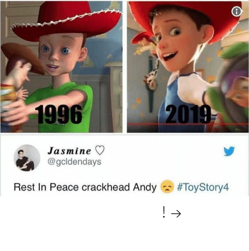 rest in peace: 1996  20  Jasmine ▽  @gcldendays  Rest In Peace crackhead Andy  𝘍𝘰𝘭𝘭𝘰𝘸 𝘮𝘺 𝘗𝘪𝘯𝘵𝘦𝘳𝘦𝘴𝘵! → 𝘤𝘩𝘦𝘳𝘳𝘺𝘩𝘢𝘪𝘳𝘦𝘥