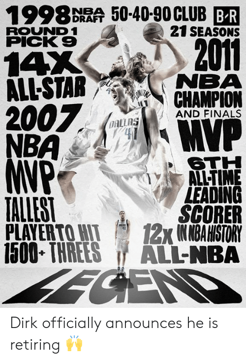 Threes: 1998 DRAA 50-40-90CLUB BR  21 SEASONS  ROUND 1  PICK 9  2011  14X  ALL-STAR NEMA  7  AND FINALS  OAL  6TH  ALL-TIME  LEADING  SCORER  PLAYERTOWI 12x1NMBAHISTORY  1500 THREES ALL-NBA  TALLEST Dirk officially announces he is retiring 🙌