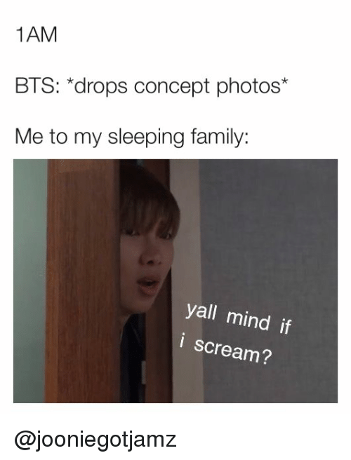 Yall Mind If I: 1AM  BTS: *drops concept photos*  Me to my sleeping family:  yall mind if  i scream? @jooniegotjamz