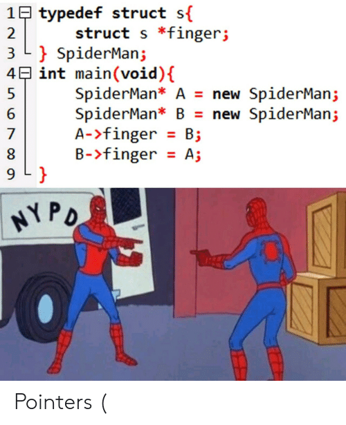 B. B.: 1B typedef struct s{  struct s *fingerj  2  3 L SpiderMan;  4E int main(void) {  SpiderMan* A = new SpiderMan;  SpiderMan* B = new SpiderMan;  A->finger B  B-finger A;  7  9 L }  HYPO Pointers (