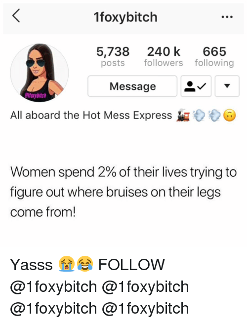Memes, Express, and Women: 1foxybitch  5,738 240 k 665  posts followers following  Message  foxybitch  All aboard the Hot Mess Express  Women spend 2% of their lives trying to  figure out where bruises on their legs  come from! Yasss 😭😂 FOLLOW @1foxybitch @1foxybitch @1foxybitch @1foxybitch