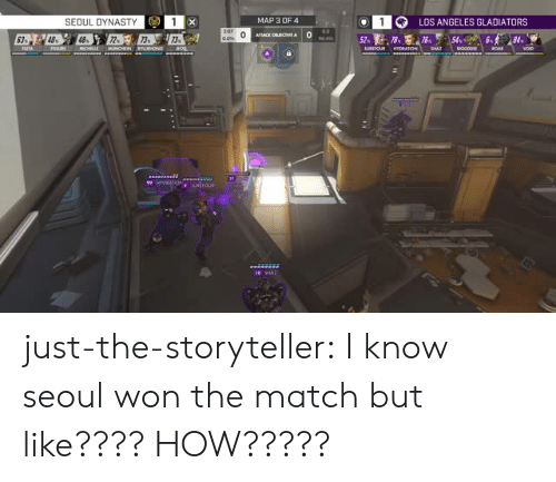 dynasty: 1G  LOS ANGELES GLADIATORS  SEOUL DYNASTY  MAP 3 OF4  0  0 SHAz just-the-storyteller:  I know seoul won the match but like???? HOW?????