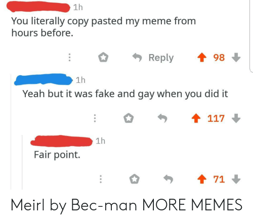 Dank, Fake, and Meme: 1h  You literally copy pasted my meme from  hours before.  Reply 會98  1h  Yeah but it was fake and gay when you did it  1h  Fair point.  會71 Meirl by Bec-man MORE MEMES