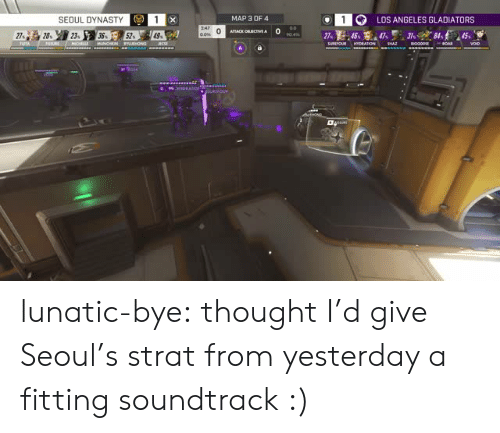 dynasty: 1LOS ANGELES GLADIATORS  SEOUL DYNASTY  MAP 3 OF4  0  76 lunatic-bye: thought I'd give Seoul's strat from yesterday a fitting soundtrack :)