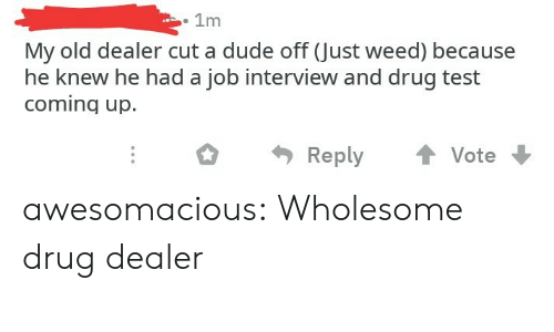 Drug Dealer, Dude, and Job Interview: . 1m  My old dealer cut a dude off (Just weed) because  he knew he had a job interview and drug test  coming up.  ReplyVote awesomacious:  Wholesome drug dealer