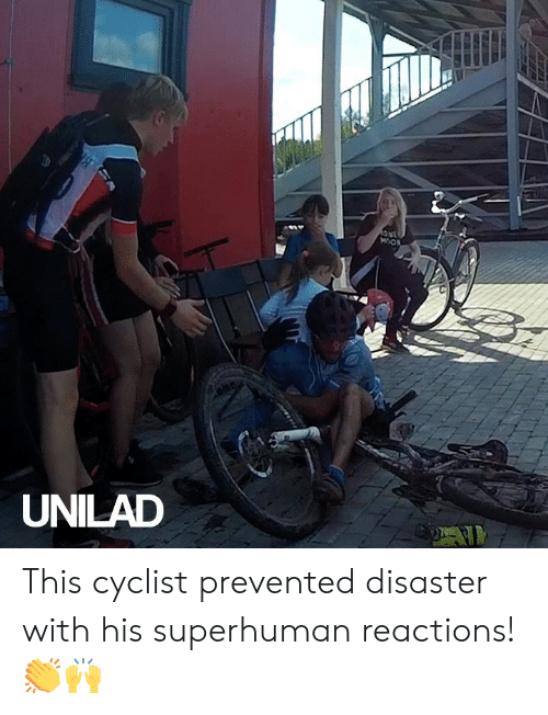 unilad: 1NC  MOON  UNILAD This cyclist prevented disaster with his superhuman reactions! 👏🙌