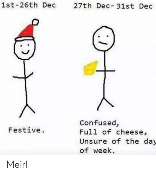 confused: 1st-26th Dec  27th Dec-31st Dec  Confused,  Full of cheese,  Festive.  Unsure of the day  of week. Meirl