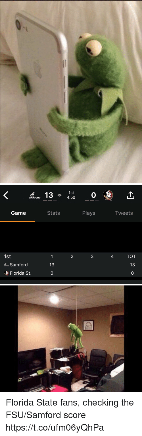 Sports, Florida, and Florida State: 1st  4:50  0  SAMFORD  Game  Stats  Plays  Iweets  2  4  TOT  1st  13  o Samford  Florida St.  0 Florida State fans, checking the FSU/Samford score https://t.co/ufm06yQhPa