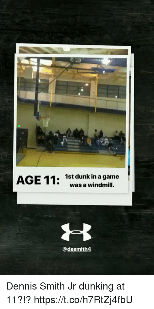dunking: 1st dunk in a game  was a windmill.  @desmith4 Dennis Smith Jr dunking at 11?!? https://t.co/h7RtZj4fbU