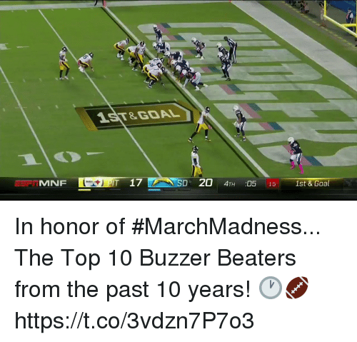 marchmadness: 1ST&GOAL  MNF  T 17  D 20 4TH :05 15 1st & Goal In honor of #MarchMadness...  The Top 10 Buzzer Beaters from the past 10 years! 🕐🏈 https://t.co/3vdzn7P7o3