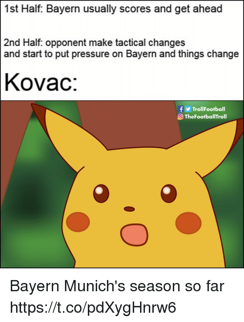 Memes, Pressure, and Change: 1st Half: Bayern usually scores and get ahead  2nd Half. opponent make tactical changes  and start to put pressure on Bayern and things change  Kovac:  f y  OTheFootballTroll  TrollFootball Bayern Munich's season so far https://t.co/pdXygHnrw6