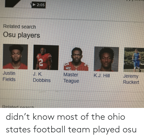 football team: 2:05  Related search  Osu players  Jeremy  J. K.  Dobbins  Master  K.J. Hill  Justin  Fields  Ruckert  Teague  Related search didn't know most of the ohio states football team played osu