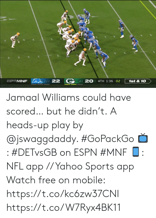 Espn, Memes, and Nfl: 2-1-1 22  20  ESFRMNF  1st&10  4TH 1:36 02  4-1 Jamaal Williams could have scored… but he didn't.  A heads-up play by @jswaggdaddy. #GoPackGo   📺: #DETvsGB on ESPN #MNF 📱: NFL app // Yahoo Sports app Watch free on mobile: https://t.co/kc6zw37CNI https://t.co/W7Ryx4BK11